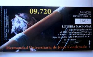 Lotería de Navidad 2011 de la Hermandad de Jesús Condenado