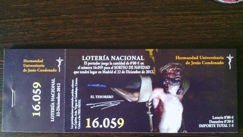 Participación de Lotería de Navidad 2012 - Hermandad de Jesús Condenado