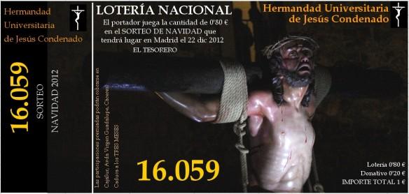 Participación de lotería de Navidad 2012 - Jesús Condenado