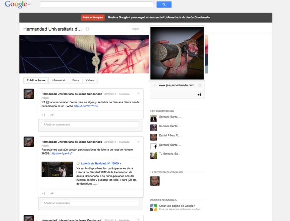 Página de GooglePlus de la Hermandad de Jesús Condenado de Cáceres