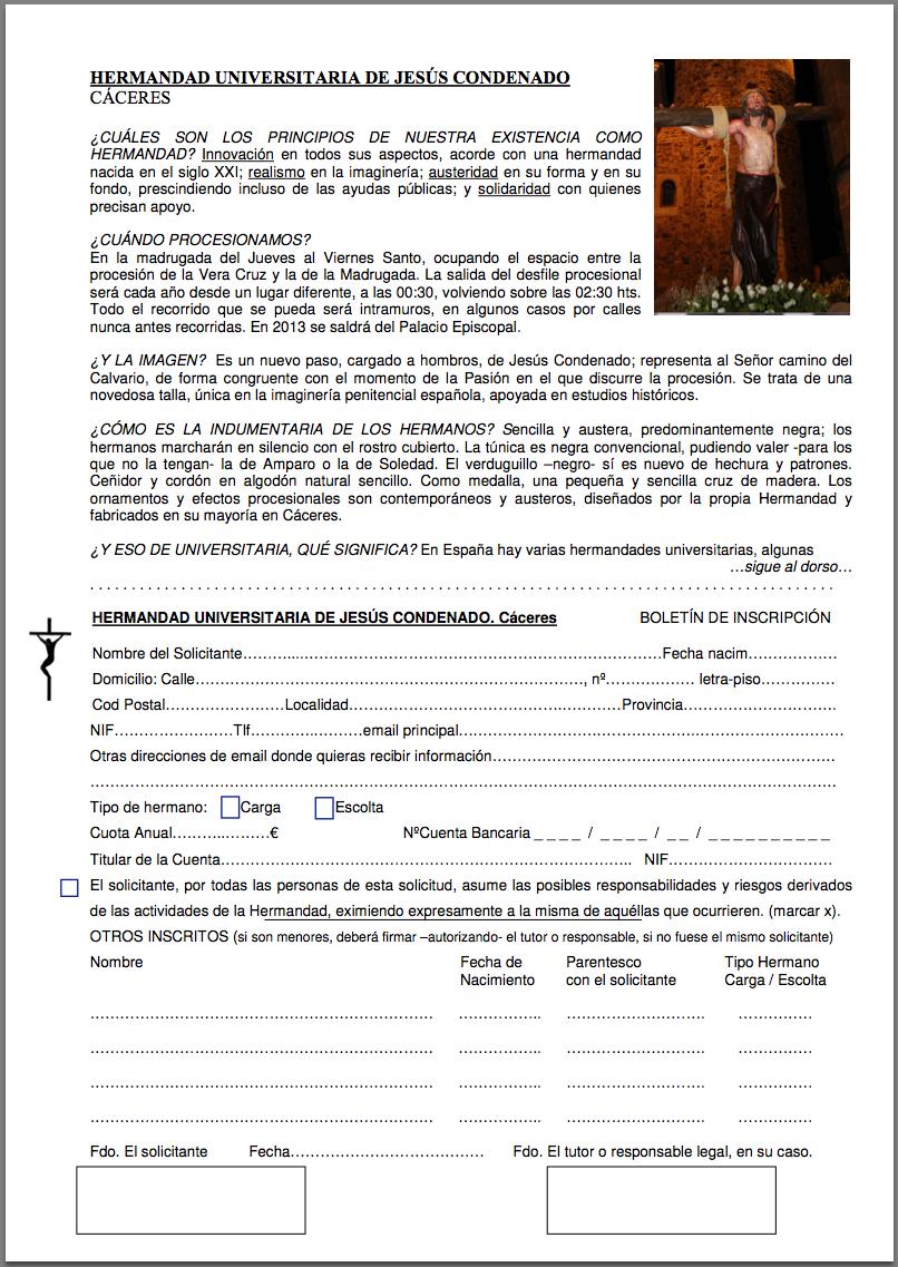 Boletin de inscripcion hermandad de Jesús Condenado 2013