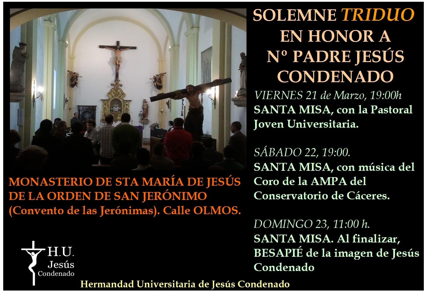 Cartel del triduo a Jesús Condenado2014